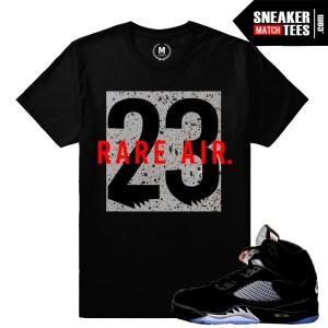 Jordan 5 Metallic Black t shirts