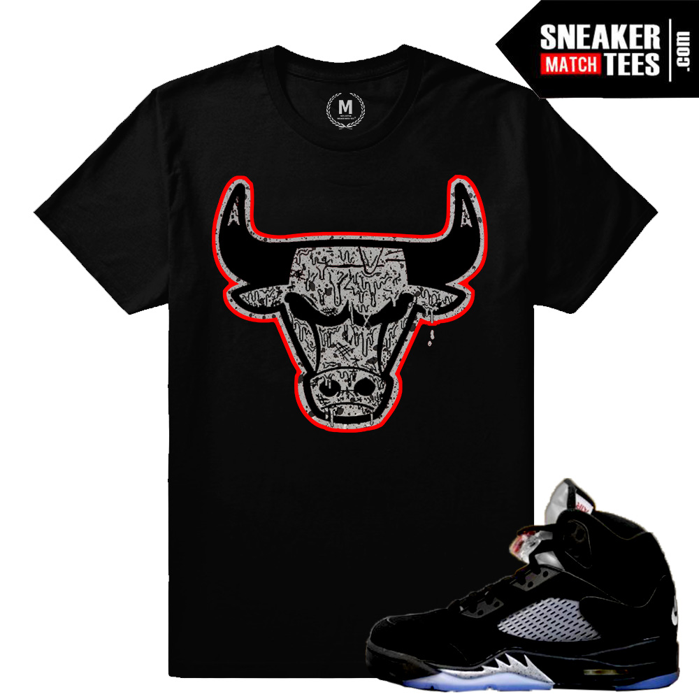 sports shoes d026b 333d9 Match Jordan 5 Black Metallic OG | Bull Drip | Black T shirt