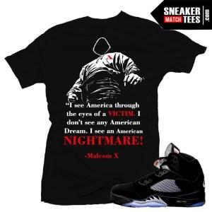 Match Jordan 5 Metallic Black T shirts