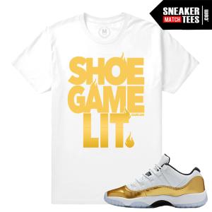 Match Jordan 11 low Gold Sneakers Tees