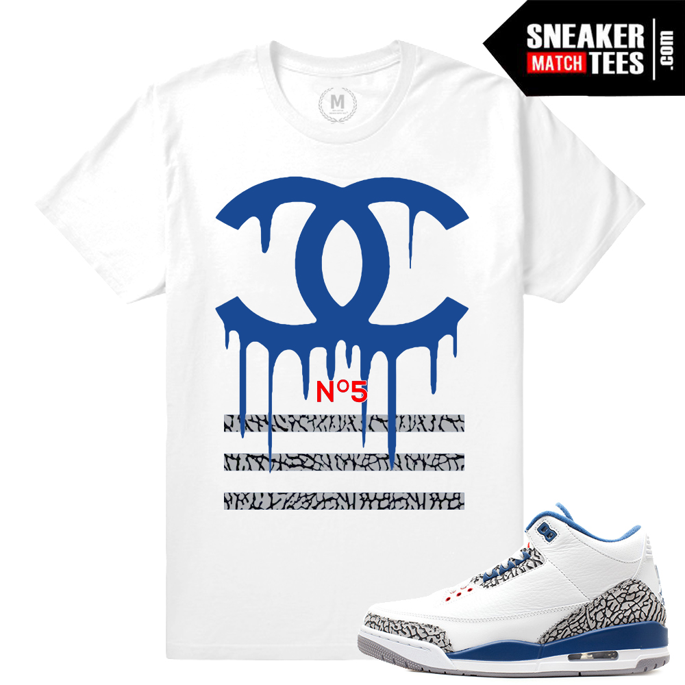super cute 84615 9378d Match Jordan 3 True Blue OG   Designer Drip   White T shirt