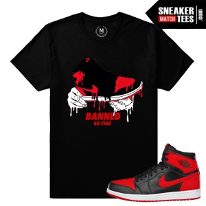 Sneaker tees match Banned 1 Jordan Retros