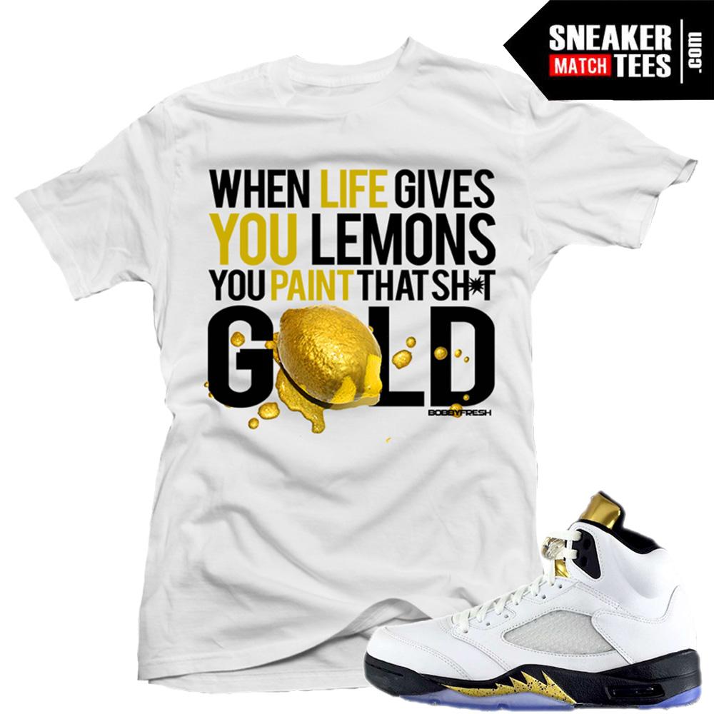 2700bfacc662 T shirt matching Jordan 5 Olympic
