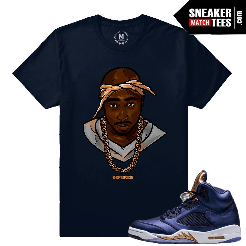 cfb333cc6a1 Bronze 5 Jordan Tupac T shirt   Sneaker Match Tees Bronze 5s