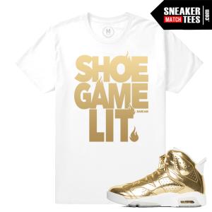 Gold Jordan 6s Match T shirt