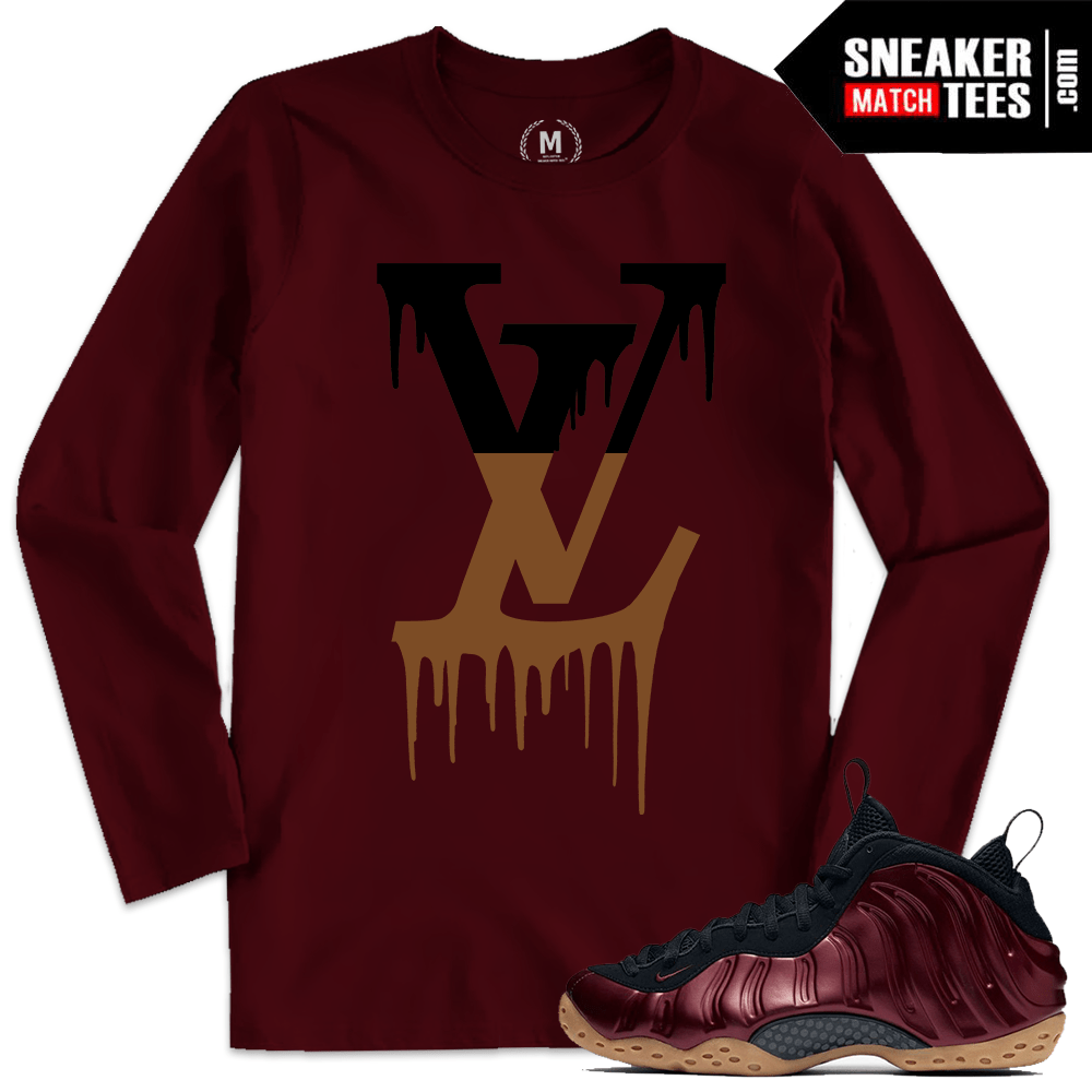 5ccbe7314af Maroon Foamposite Match Sneaker Tee Shirts
