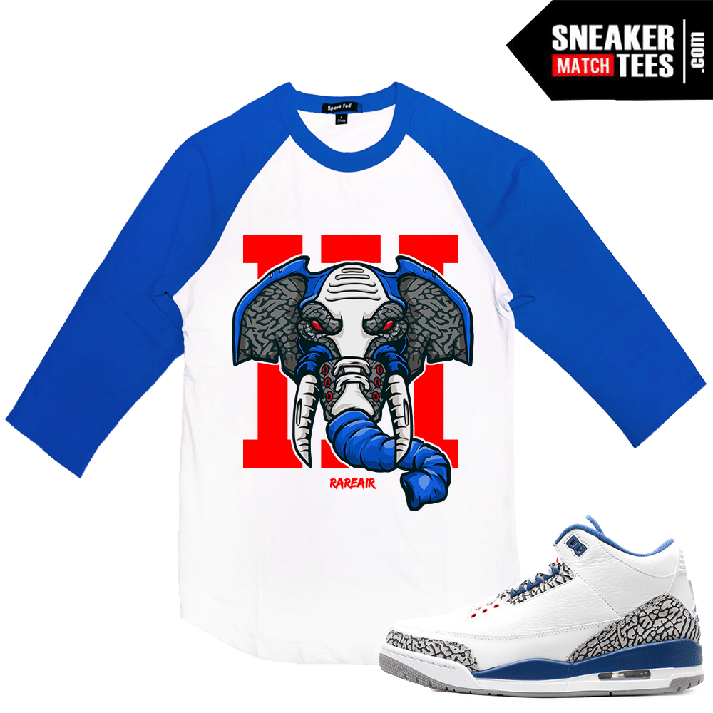 newest 1d39d 24216 Air Jordan 3 True Blue Raglan T shirt