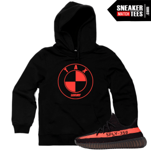 Hoodie Yeezy 350 Boost Black Red Match