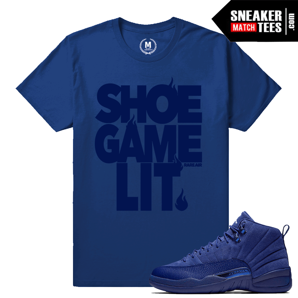 the latest 19eac 9b7f2 Match Jordan 12 Blue Suede | Shoe Game Lit | Deep Royal Blue T shirt