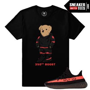 Match Yeezy Boost 350 Black Red Sneaker Shirt