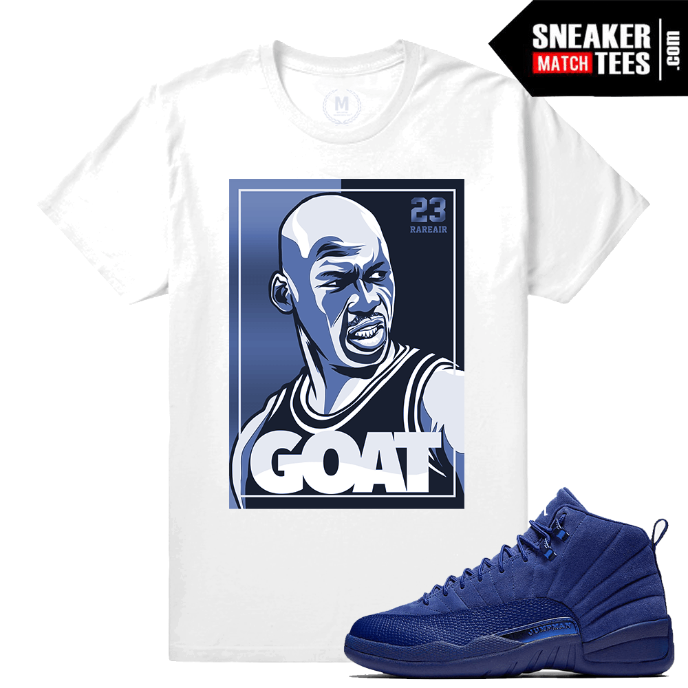Sneaker tees Match Blue Suede 12s