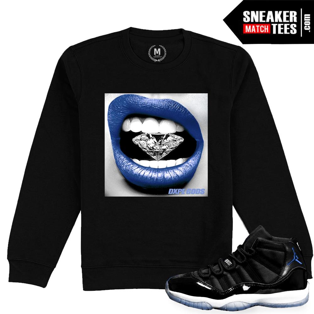 sports shoes 6fbc2 69941 Match Jordan 11 Space Jam   Diamond Lips   Black Crewneck Sweatshirt
