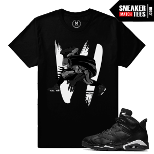 Black Cat 6 Jordan Retro T shirt Match