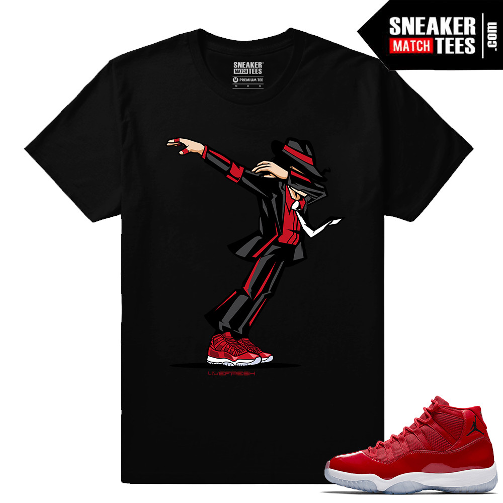Jordan 11 Win Like 96 Gym Red Sneaker tees Black Dabin MJ