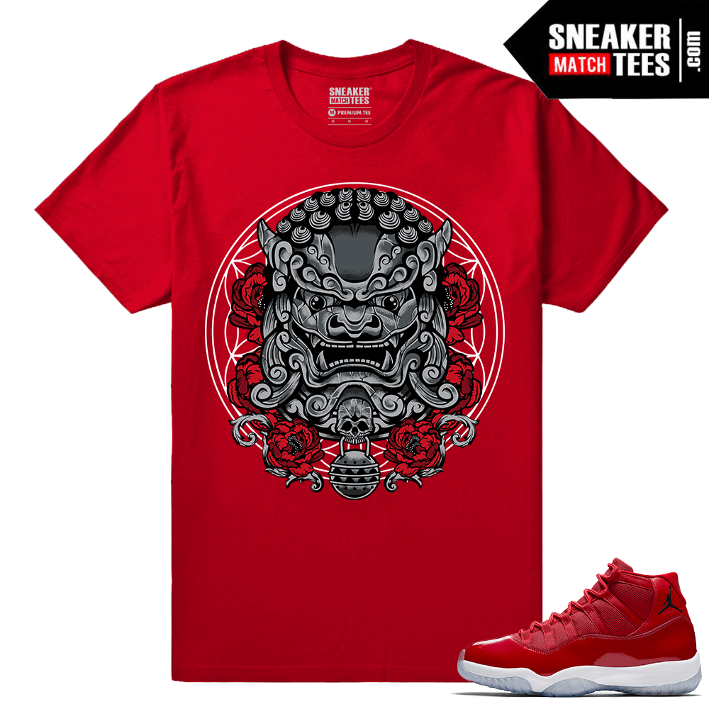Jordan 11 Win Like 96 Gym Red Sneaker tees Red Imperial Lion
