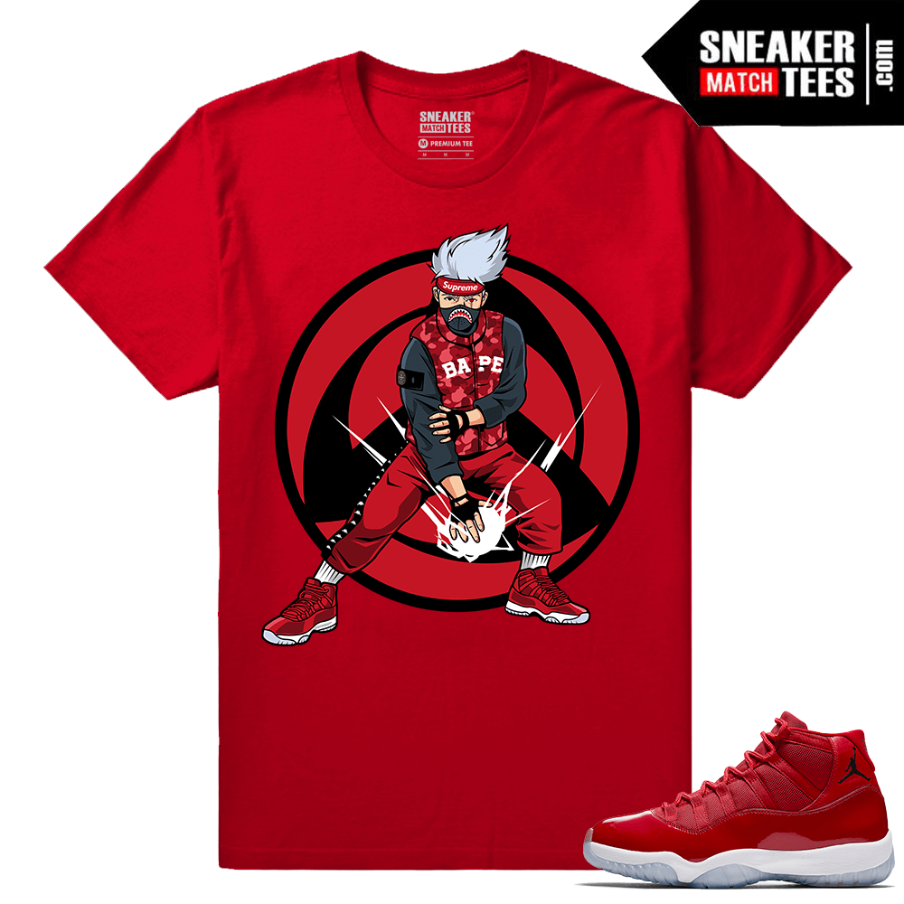 Jordan 11 Win Like 96 Gym Red Sneaker tees Red Kakashi Hype