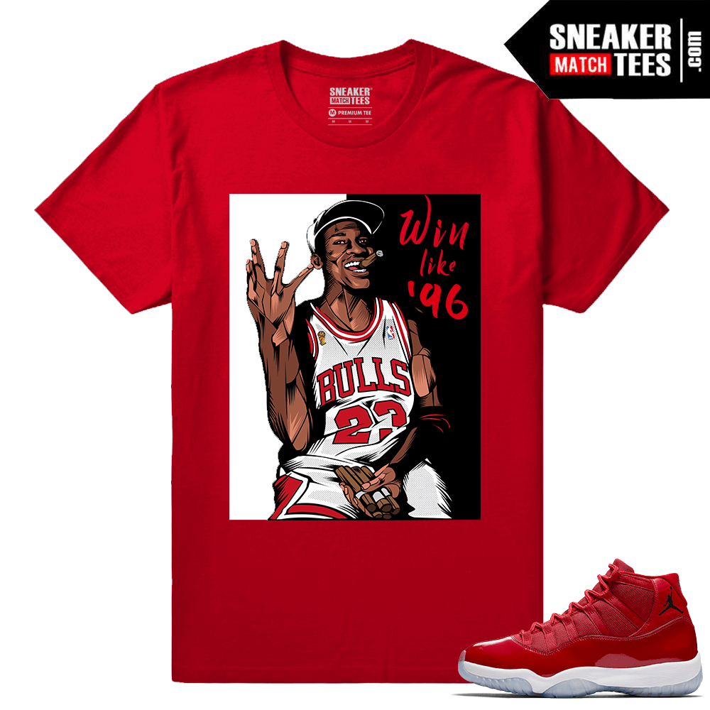 Jordan 11 Win Like 96 Gym Red Sneaker tees Red Win Like 96