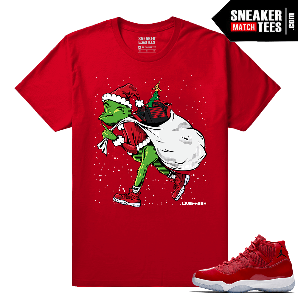 Jordan 11 Win Like 96 Gym Red Sneaker tees Sneakerhead Grinch