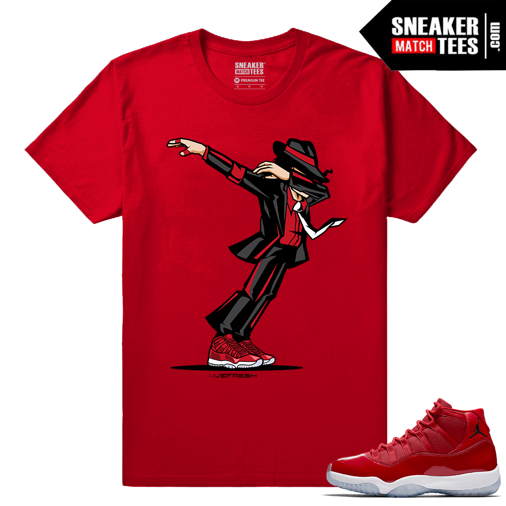 Jordan 11 Win Like 96 Gym Red T shirt Dabbin MJ
