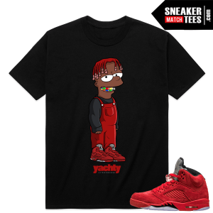 Air Jordan 5 Red Suede sneaker match tees shirt
