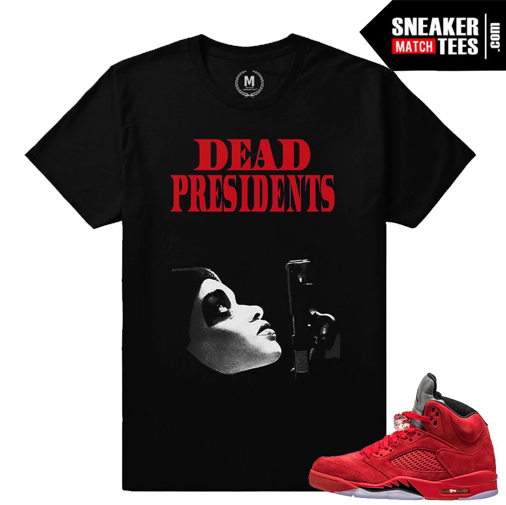 promo code 54d83 0115f Retro Jordans 5 t shirts Red Suede
