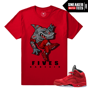 Jordan 5 Red Suede Sneaker tees Match