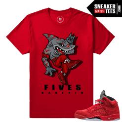 Jordan 5 Red Suede Sneaker tees Match