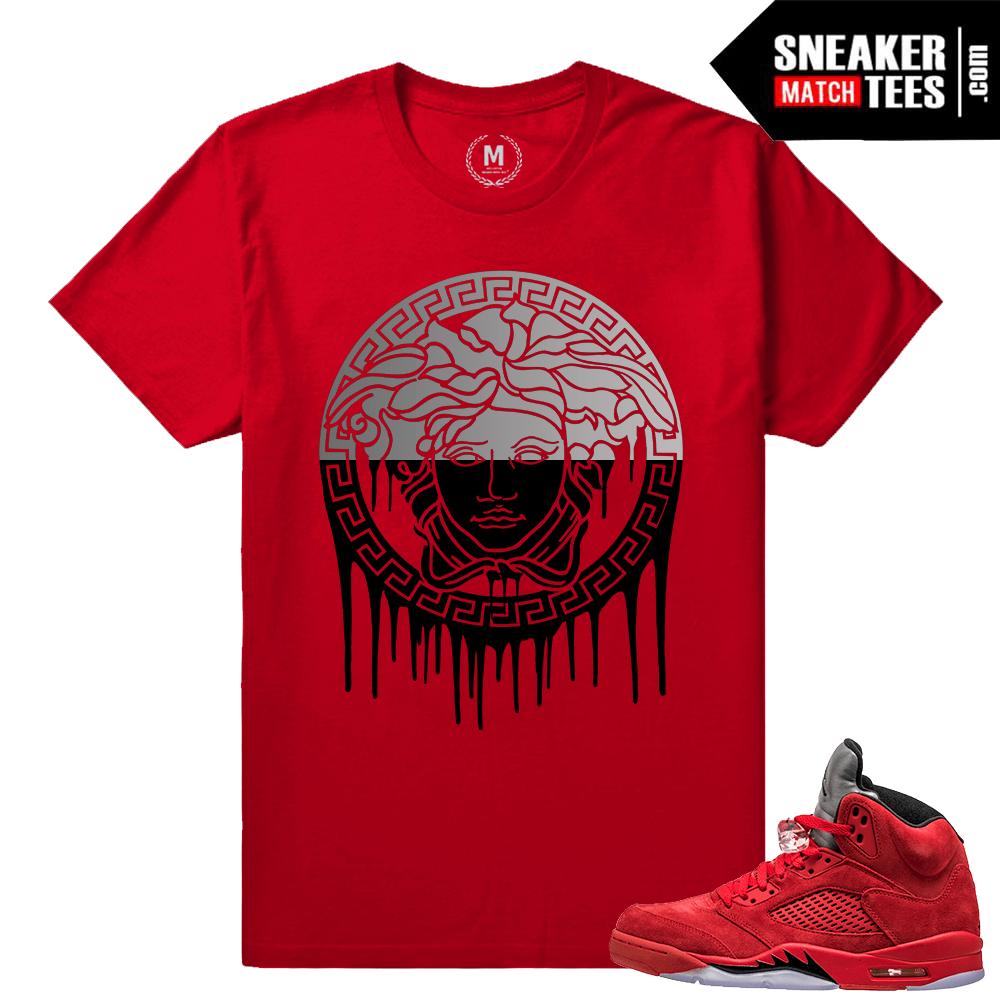 cheaper 050e7 81708 Jordan Retro 5 Red Suede - Medusa Drip Matching Shirt - Red