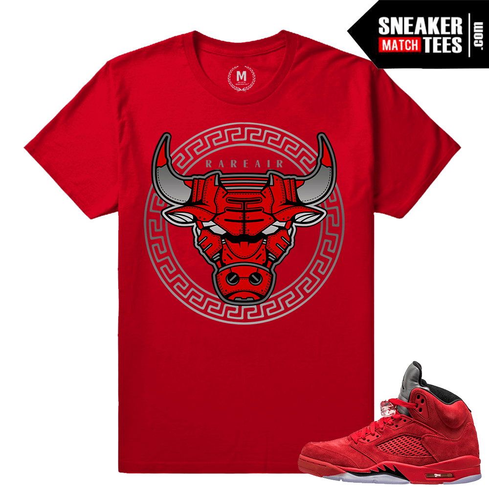 more photos 1e442 d9b0b Jordan 5 Red Suede - BullSace Matching Shirt - Red