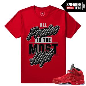 Jordans 5 shirts matching Red 5s