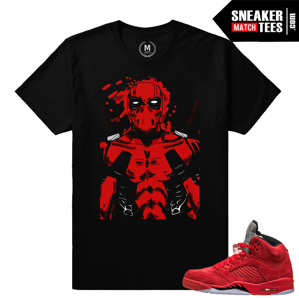 535452044f0 Air Jordan 5 t shirts Red Suede – Dead pool Splatter – Black