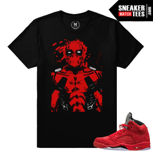 Red Jordans 5 sneaker tees shirts