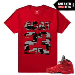 Red Suede 5s Sneaker Matching Tees Shirts