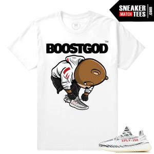 Yeezy Zebra shoes matching Sneakertees shirt