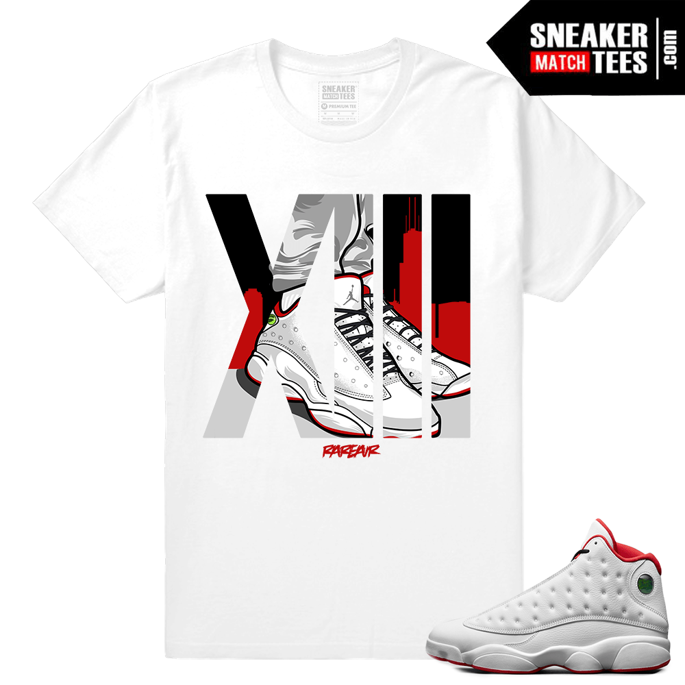 f082e727be8 Jordan Retro 13 – History of Flight T shirt – Rare AIr XIII – White