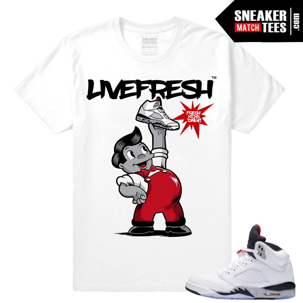 Air Jordan 5 White Cement Sneaker shirts match