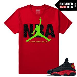 Bred 13s matching NBA Red Sneaker tee shirt