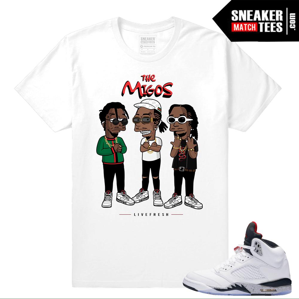 Jordan 5 Cement – matching The Migos Streetwear shirt – White b1a931779