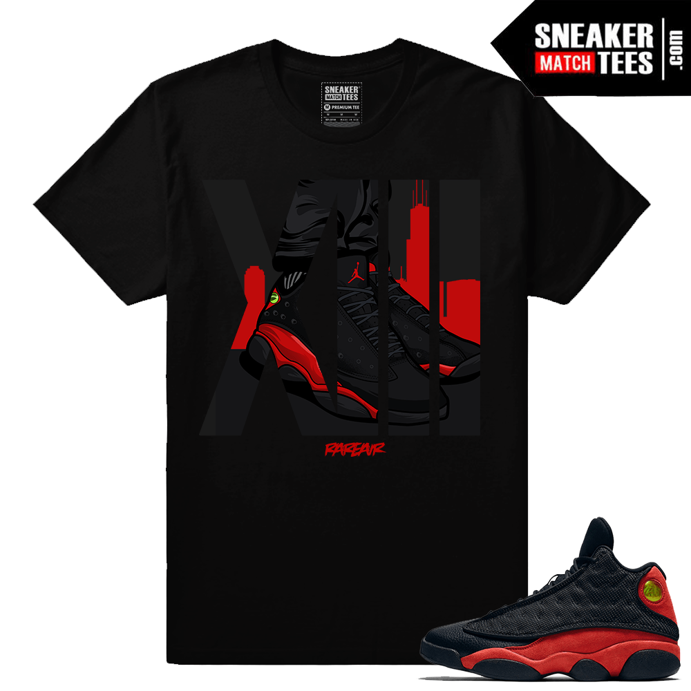 sports shoes 5456f 95ac9 Retro Jordans 13 Bred Matching Rare Air XIII t shirt - Black