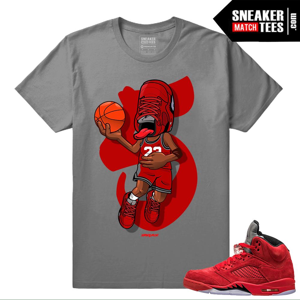 newest 25d94 b3353 Sneakerhead - Jordan 5 Red Suede t shirt - Dark Grey