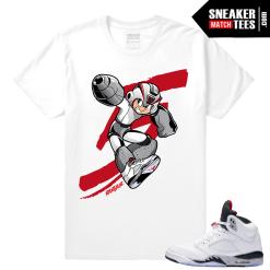 White Jordan 5 Cement t shirt