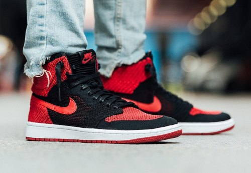 Air Jordan 1 Banned Flyknit on Feet