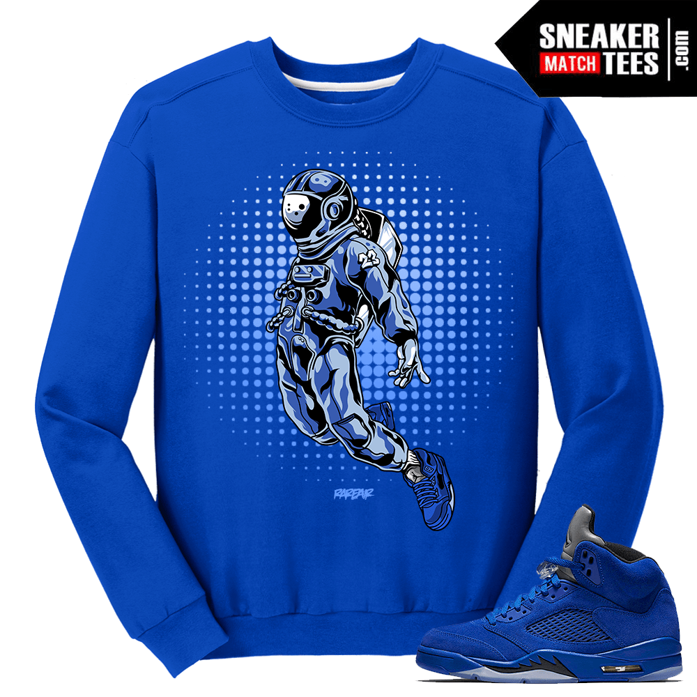 e36102f179fa47 Air Jordan 5 Blue Suede Matching Sweater - Sneaker Match Tees ®