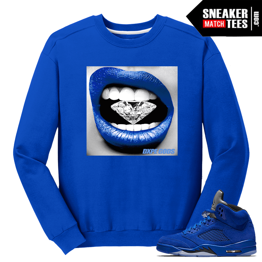 Air Jordan 5 Blue Suede Sweater Streetwear
