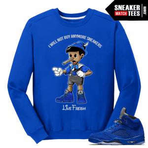 Air Jordan 5 Sneaker Match Blue Suede Crewneck Streetwear