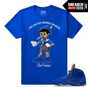 Air Jordan 5 t shirt Blue Suede