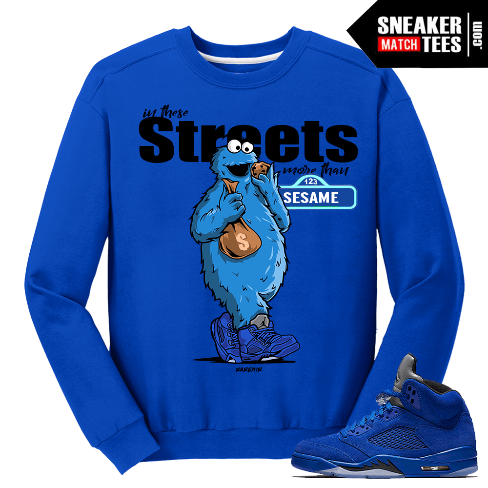 Air Jordan Retro 5 Blue Suede Crewneck Sweater