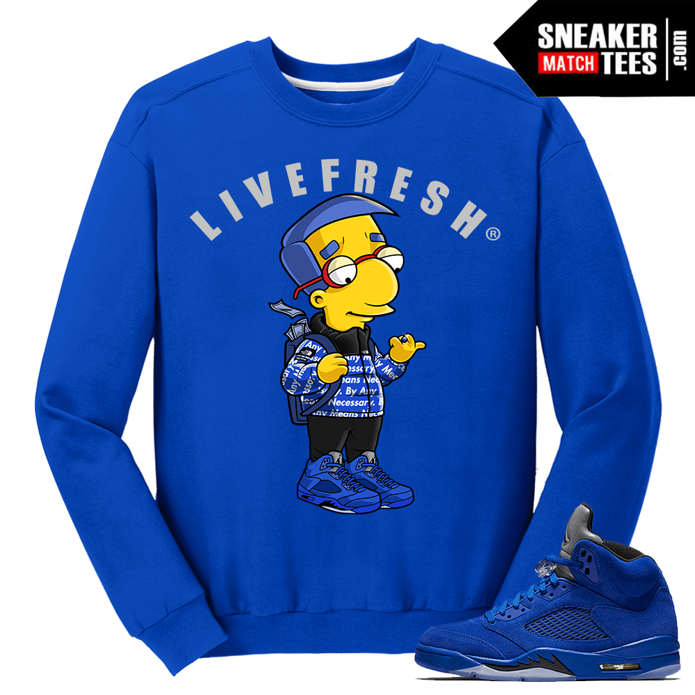 Air Jordan Retro 5 Blue Suede Crewneck