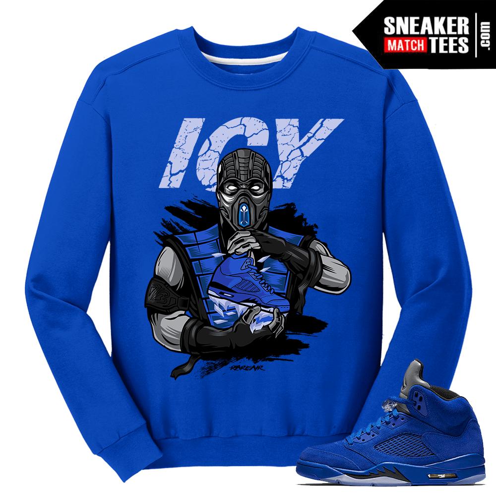 """95718c5d00c79d Blue Suede 5s Crewneck Sweatshirt """"Icy Sole""""- Royal Blue Crewneck.  54.90. Jordan  5 Blue Suede Sneaker Match Tees ..."""