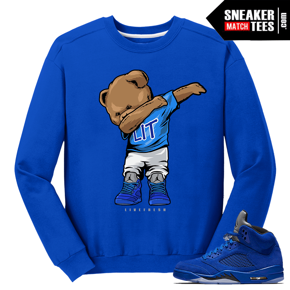 Dabin Polo Bear Blue Suede 5s Crewneck